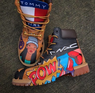 shoes timberlands hispter grunge colorful trendy tumblr tommy hilfiger mac custom perfect flawless