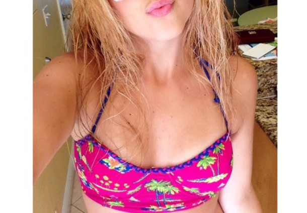 swimwear summer cute water pink sunny palm tree print pink swimwear