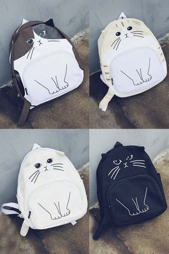 bag cats fashion black white kawaii neko girly teenagers back to school backpack beautifulhalo