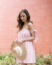 dress,hat,tumblr,gingham,gingham dresses,pink dress,off the shoulder,off the shoulder dress,sun hat,mini dress