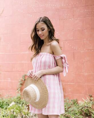 dress hat tumblr gingham gingham dresses pink dress off the shoulder off the shoulder dress sun hat mini dress