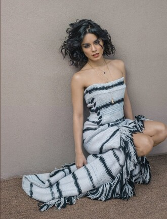 dress strapless vanessa hudgens editorial stripes knitted dress bustier dress fringes