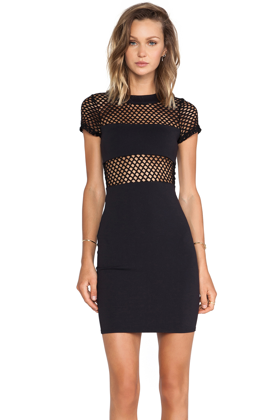 Donna mizani banded fitted mini dress in caviar from revolveclothing.com