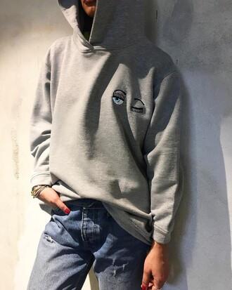 top tumblr hoodie embroidered eyes grey hoodie denim jeans blue jeans