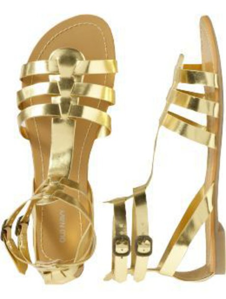 shoes gold sandals