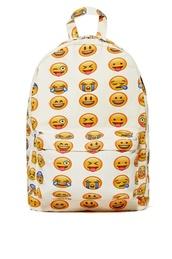 bag,emoji print,backpack,smiley,emoj backpack,cute bag,bacpack,cute bags,white,bookbag,fashion,back to school,cool,trendy,style,teenagers,it girl shop