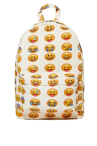 bag emoji print backpack smiley emoj backpack cute bag bacpack cute bags white bookbag fashion back to school cool trendy style teenagers it girl shop
