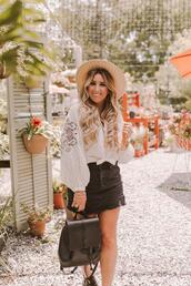 januaryhart,blogger,blouse,skirt,shoes,hat,jewels,mini skirt,white blouse,backpack,summer outfits