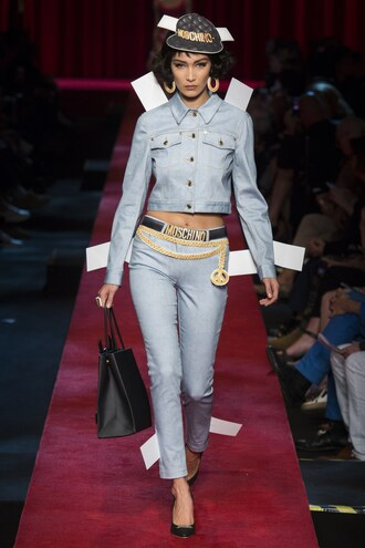 jeans jacket denim denim jacket bella hadid milan fashion week 2016 runway moschino