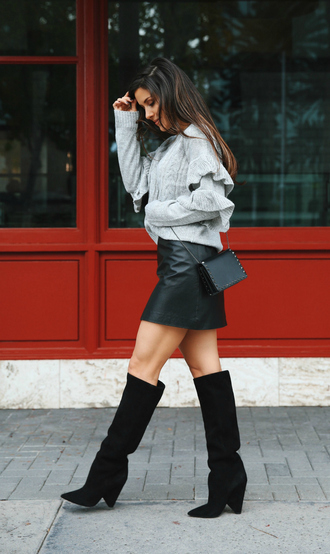 shoes boots black boots knee high boots skirt mini skirt leather skirt black leather skirt sweater knit knitwear knitted sweater ruffle ruffle sweater
