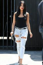 jeans,ripped jeans,sandals,kourtney kardashian,top