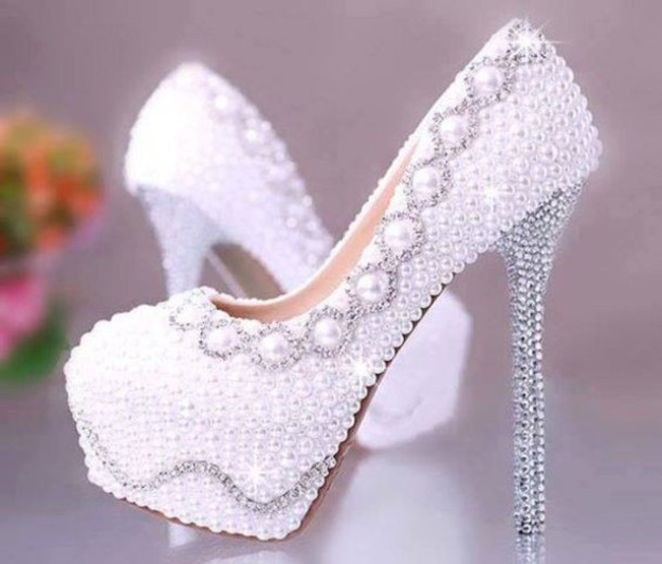 Shoes: prom, white, silver, pearl, heels, pumps, dress, white ...