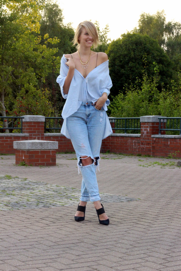 ohh couture blogger blouse jeans shoes ripped jeans boyfriend jeans