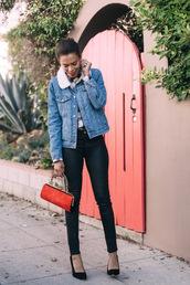style me grasie,blogger,denim jacket,shearling jacket,skinny pants,shearling denim jacket,blue jacket,black leather pants,leather pants,black pants,red bag,pointed toe pumps,pumps,black high heels,high heel pumps