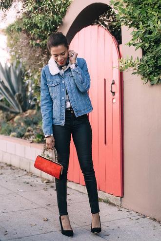 style me grasie blogger denim jacket shearling jacket skinny pants shearling denim jacket blue jacket black leather pants leather pants black pants red bag pointed toe pumps pumps black high heels high heel pumps
