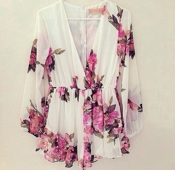 dress romper summer clothes pink floral fashion girly cute v neck pretty hipster tumblr indie