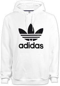 Adidas Trefoil sweat capuche blanc noir