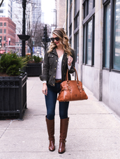 visions of vogue,blogger,jacket,jeans,belt,shoes,bag,sunglasses,jewels,brown bag,brown boots,boots,winter outfits
