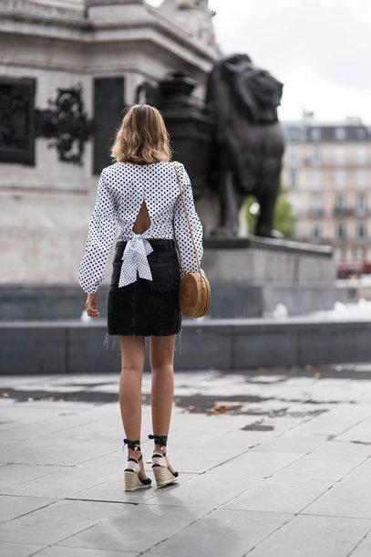top tumblr polka dots skirt mini skirt denim denim skirt sandals wedges wedge sandals puffed sleeves bag shoes