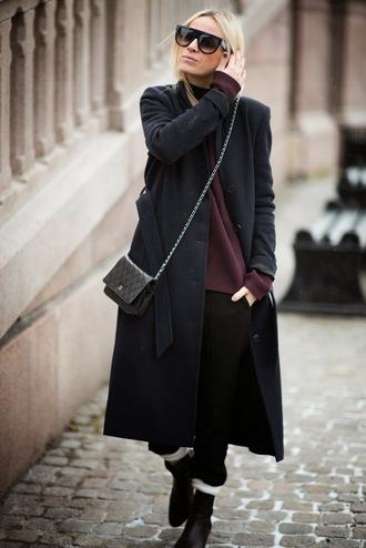 hippie hippie milkshake blogger long coat burgundy sweater shoulder bag winter coat
