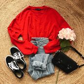sweater,red,crop,cropped sweater,fashion,spring,summer,hioster,bellexo,trendy necklace,hipster sweater,grunge top