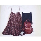 bag,leather,brown leather,backpack,leather backpack,burgundy,dress