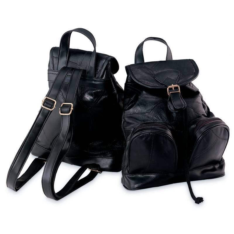 Black Leather Backpack Purse Sling Shoulder Tote Bag Handbag ...