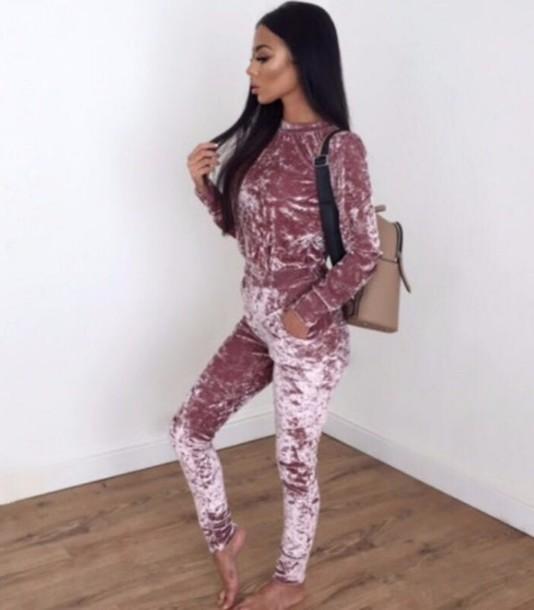 504887e86fb5 jumpsuit tumblr girly girl girly wishlist pink velvet crushed velvet one  piece cute romper