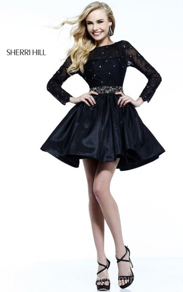 little black dress sherri hill 21215 dress for homecoming