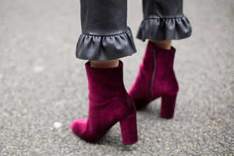 shoes tumblr boots velvet boots velvet purple thick heel block heels ankle boots thick heel boots