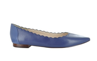 shoes cole haan scalloped skimmer blue flat learher
