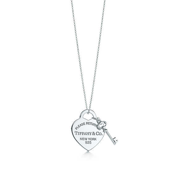 Return to tiffany™ medium heart tag with key pendant in sterling silver.