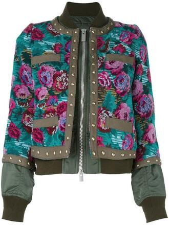 women jacquard floral cotton green jacket
