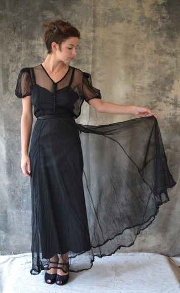 dress sheer long dress little black dress sheer black dress