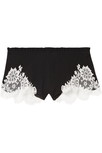 shorts lace black silk