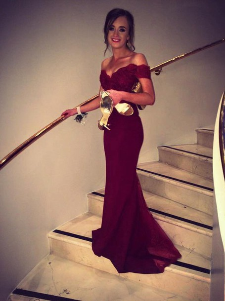 Dress Red Dress Burgundy Lace Dress Prom Dress Burgundy Dress