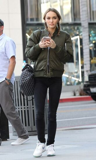 jacket bomber jacket streetstyle lily rose depp sneakers