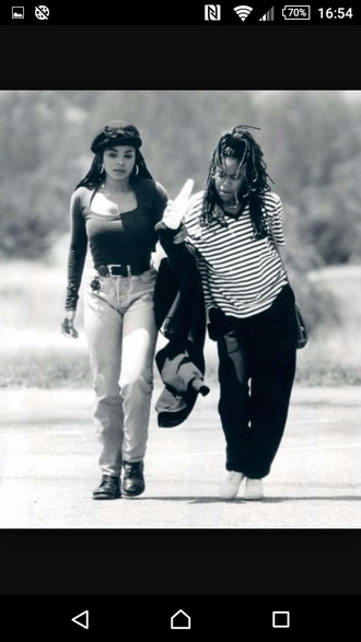 jeans retro 90s style janet jackson braids box braids belt poetic justice blue black