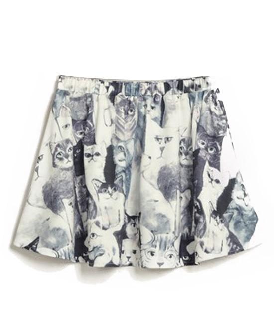 Korean Style Charming Cat Print Split Joint Skirts