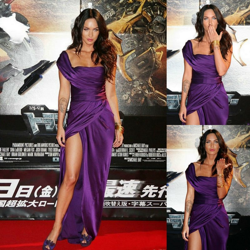Sexy purple floor length side slit one shoulder ruffles celebrity dress red carpet gown