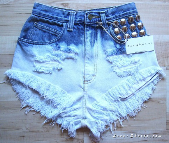 High waisted shorts jeans acid wash ombre studs high waisted