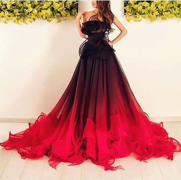 Dress: maxi dress, ombre dress, red, burgundy, black ...