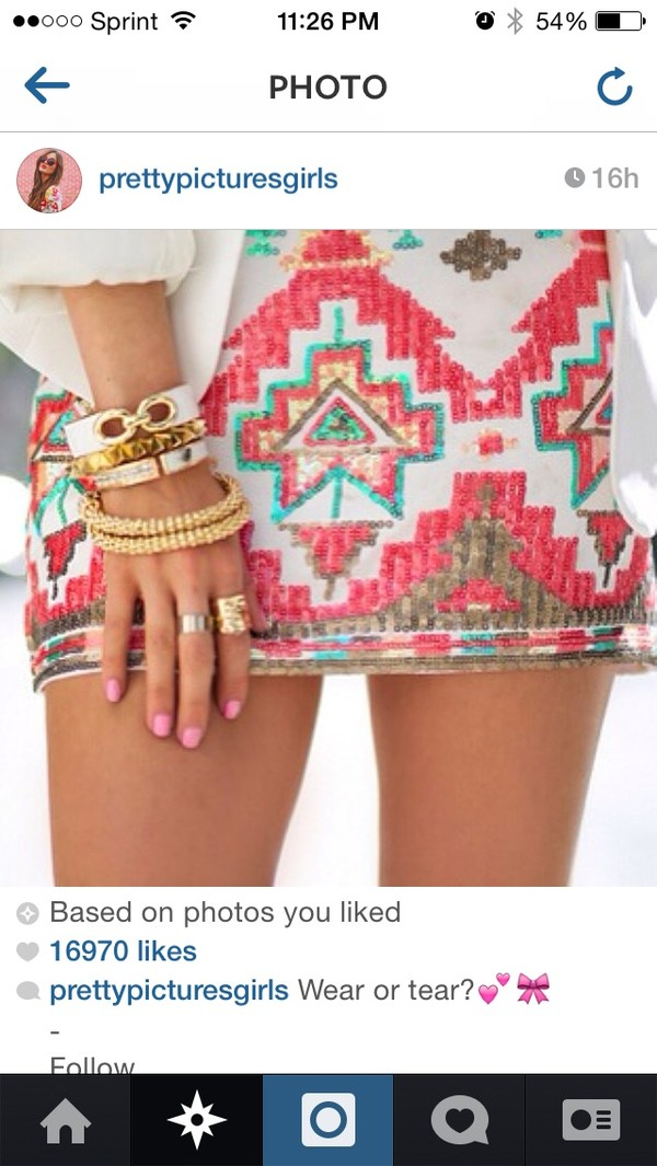skirt aztec sequin skirt jewels
