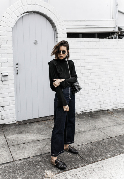 modern legacy blogger jeans shirt shoes bag jewels sunglasses gucci princetown gucci gucci shoes gucci bag dionysus long sleeves black top culottes denim culottes blue jeans palazzo pants wide-leg pants black sunglasses