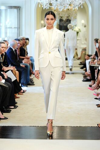 shoes sandals high heel sandals gold sandals pants white pants blazer white blazer office outfits white top model runway spring outfits all white everything