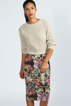 Laura Tapestry Print Midi Skirt at boohoo.com