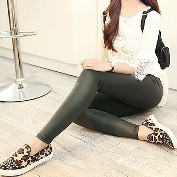 shoes leggings fashion style animal print