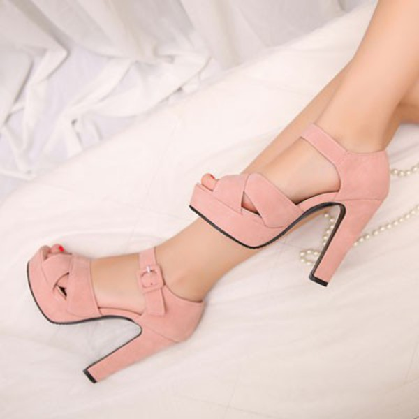 cb6040b9703 Bryn Platform High Heels in Blush Pink Faux Suede