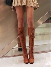 boots,lace up,knee high boots,brown leather boots