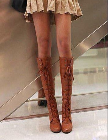 boots lace up knee high boots brown leather boots